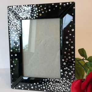 Other - 🏙 Lovely Black Glass & Crystal Picture Frame